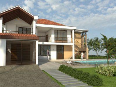 Render 1 fachada principal día, Diseño casa campestre horizonte