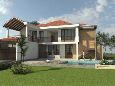Render 2 fachada día, Diseño casa campestre horizonte
