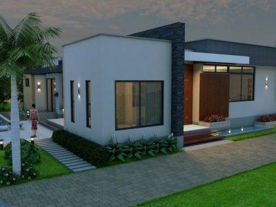 Render fachada 1, Diseño casa campestre tropical moderno