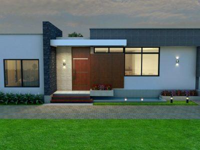 Render fachada principal, Diseño casa campestre tropical moderno