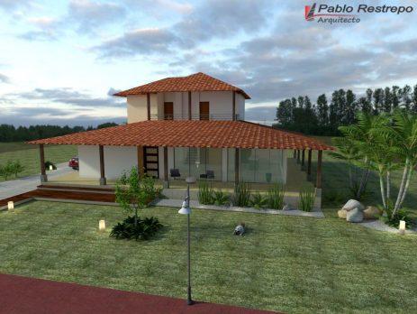 Dise o casa campestre el alero colonial venta de planos for Diseno piscinas modernas colombia