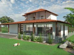 Render fachada 1, Diseño casa campestre el alero colonial