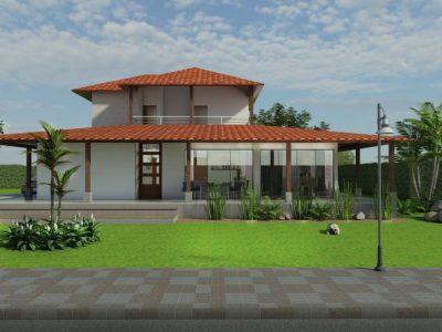 Render fachada principal, Diseño casa campestre el alero colonial