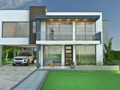 Render fachada principal, Diseño casa campestre sol naciente