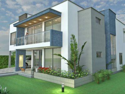 Render fachada lateral 1, Diseño casa campestre sol naciente