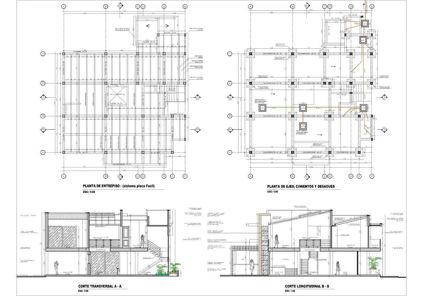 Planos de casas campestres dise os modernos venta en linea for Ejes arquitectonicos