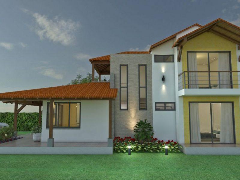 Dise o casa campestre alero primaveral 4 dormitorios techo a 4 aguas - Diseno de casas en linea ...