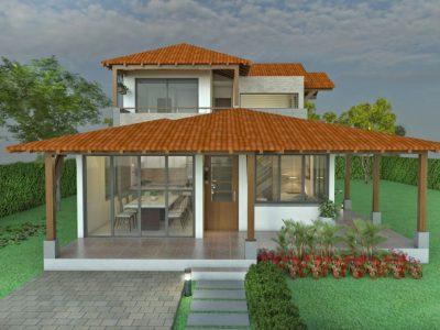 Render fachada principal, Diseño casa campestre alero primaveral