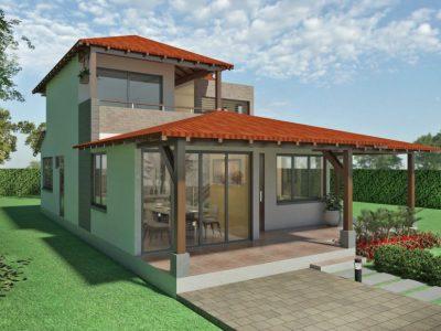 Render fachada principal 2, Diseño casa campestre alero primaveral