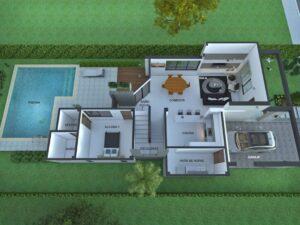 Render aéreo planta interior primer piso, Diseño casa moderna la pradera