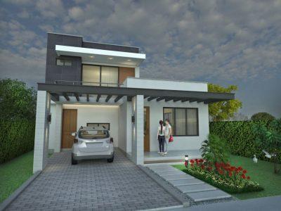 Render fachada principal, Diseño casa moderna la pradera