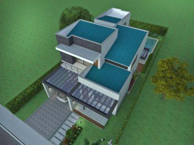 Render perspectiva aérea, Diseño casa moderna la pradera