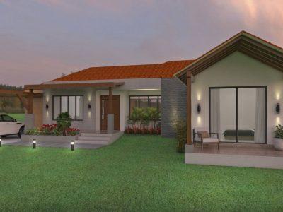 Render fachada principal 3, Diseño casa campestre los tulipanes