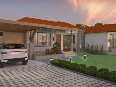 Render fachada principal 2, Diseño casa campestre los tulipanes