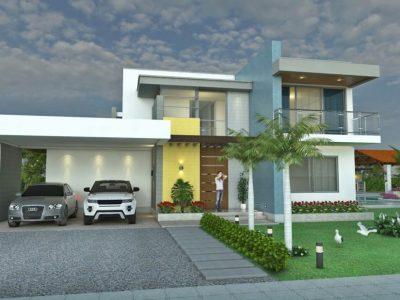 Render fachada principal, Diseño casa campestre laguna celeste