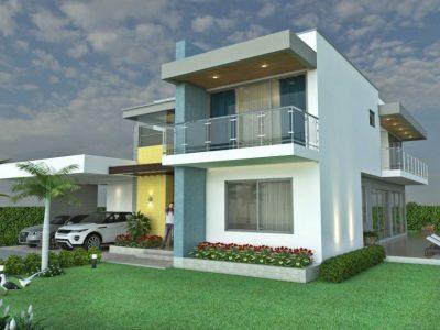 Render exterior, Diseño casa campestre laguna celeste