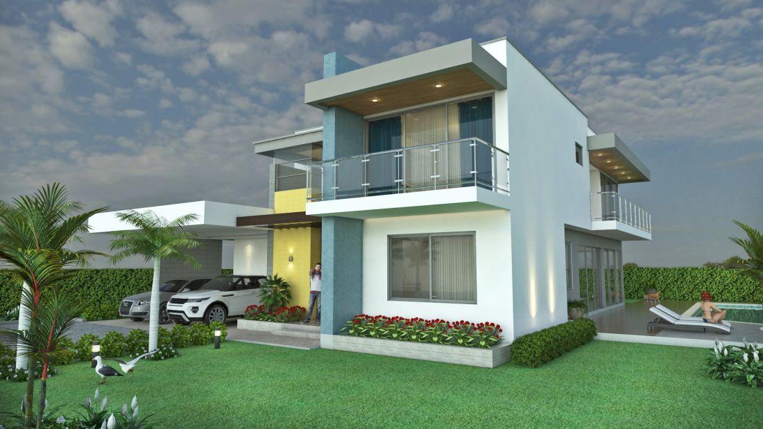 Dise o casa campestre laguna celeste rea 351 m2 6 for Casas campestres modernas planos
