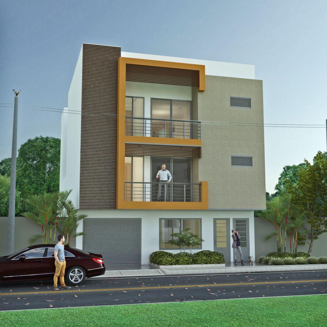 Dise o moderno edificio de apartamentos en tres pisos for Fachadas de edificios modernos