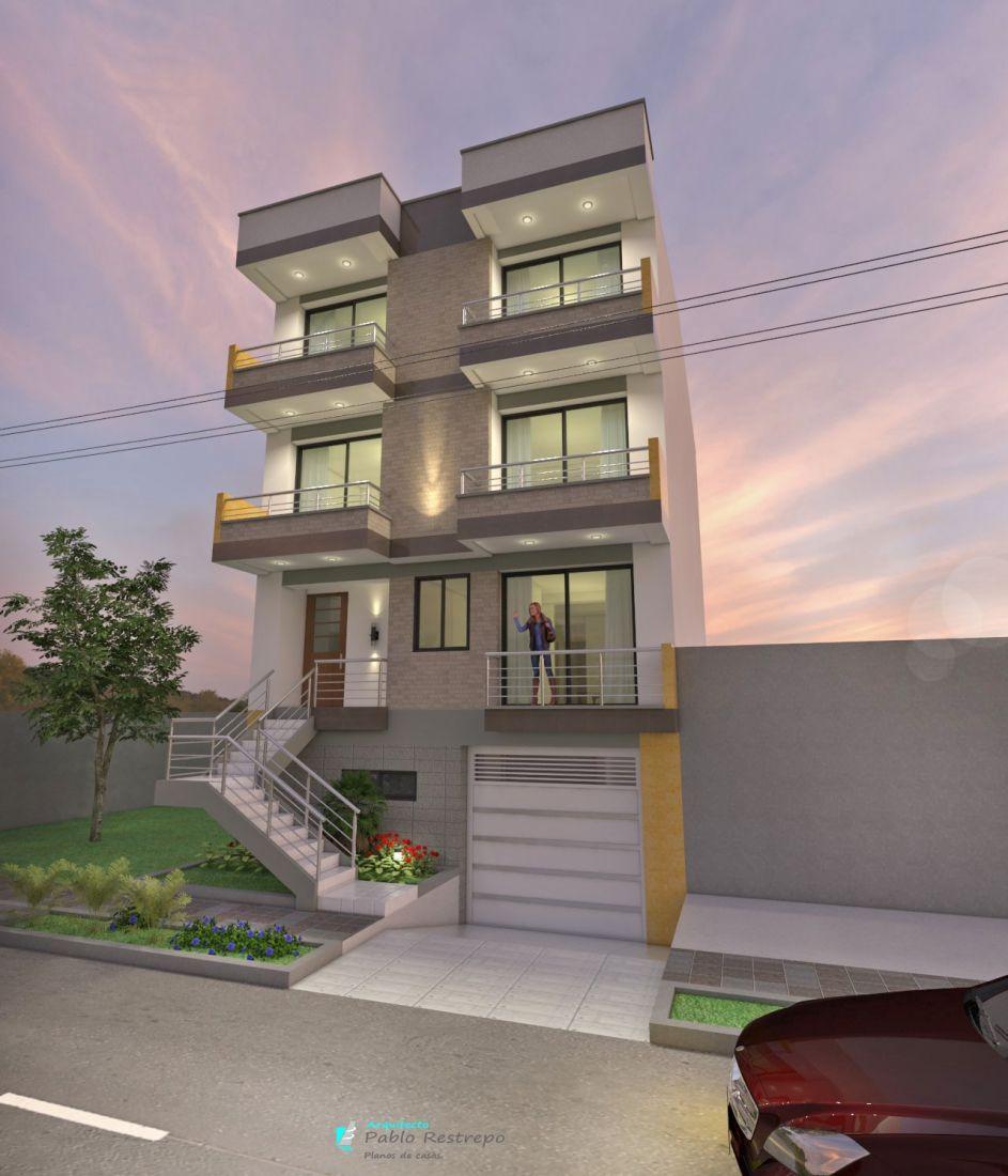 Edificio moderno de apartamentos en tres pisos en for Pisos para apartamentos modernos