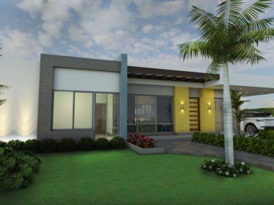 Render fachada principal 1, Diseño casa campestre villa celeste
