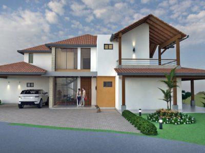 Render fachada principal, Diseño casa de campo la colina