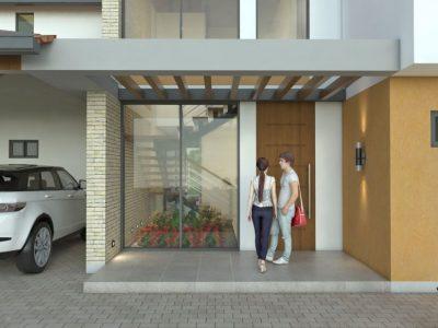 Render fachada principal entrada, Diseño casa de campo la colina