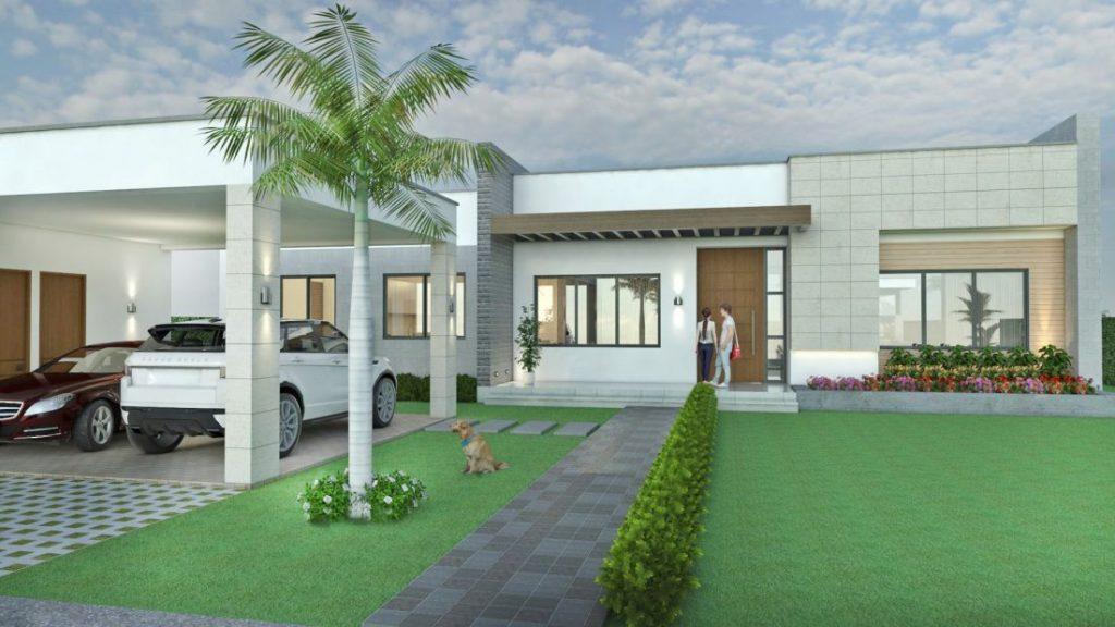 Fachadas de casas en un piso planos de casas modernas - Jardines exteriores de casas modernas ...