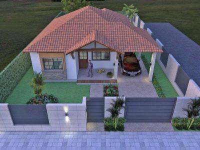 Render aéreo fachada principal noche, Diseño casa campestre el edén