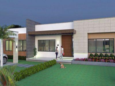 Render fachada principal, Diseño casa campestre valle verde