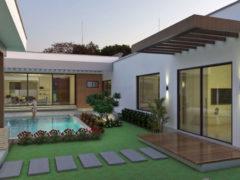 Render exterior fachada posterior piscina 1, Diseño casa campestre valle verde