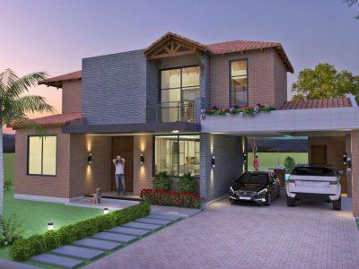 Render fachada principal 1, Diseño casa campestre el paraíso