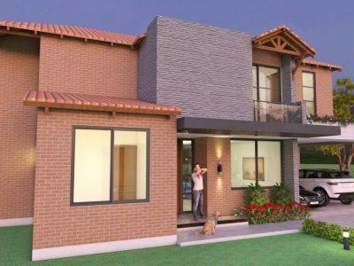 Render fachada principal 2, Diseño casa campestre el paraíso
