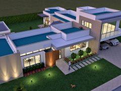 Render exterior aéreo fachada, Diseño casa campestre terranova