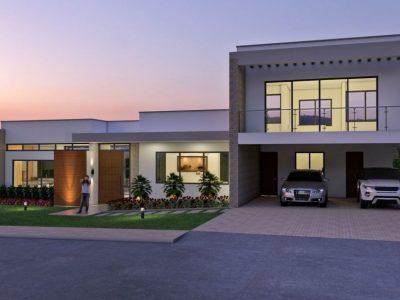 Render exterior fachada principal, Diseño casa campestre terranova