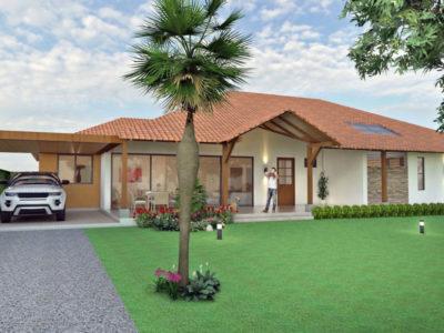 Render fachada principal, Diseño casa campestre villas del caney