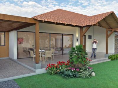 Render exterior fachada, Diseño casa campestre villas del caney