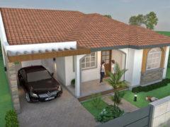 Render aéreo fachada principal 2, diseño casa campestre las palmas