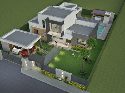 Render exterior aéreo 1, diseño casa campestre valle de los girasoles