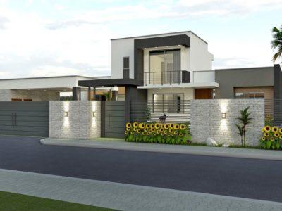 Render exterior, diseño casa campestre valle de los girasoles