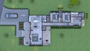 Render interior planta arquitectónica, diseño casa campestre el trébol