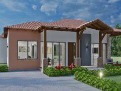 Render fachada principal 1, diseño casa campestre el trébol