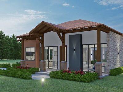 Render fachada principal 2, diseño casa campestre el trébol