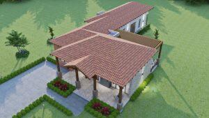 Render exterior aéreo 3, diseño casa campestre el trébol