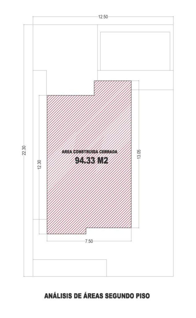 Esquema de áreas segundo piso, diseño casa moderna llano grande
