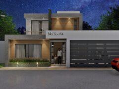 Render exterior 4, diseño casa moderna llano grande