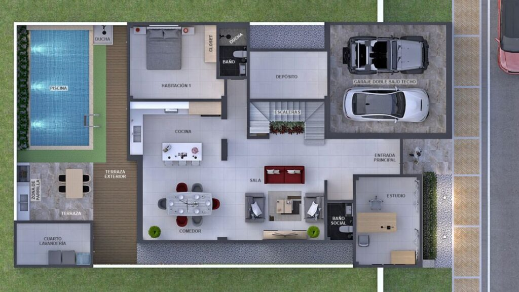 Render aéreo planta arquitectónica primer piso, diseño casa moderna llano grande