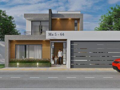 Render fachada principal, diseño casa moderna llano grande
