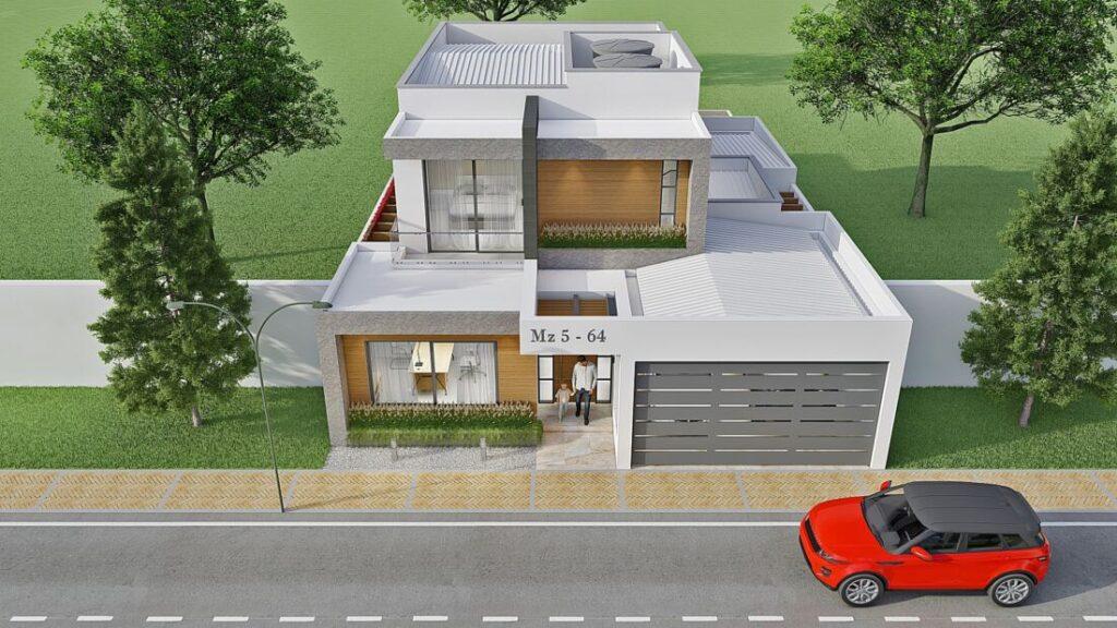 Render exterior 3, diseño casa moderna llano grande