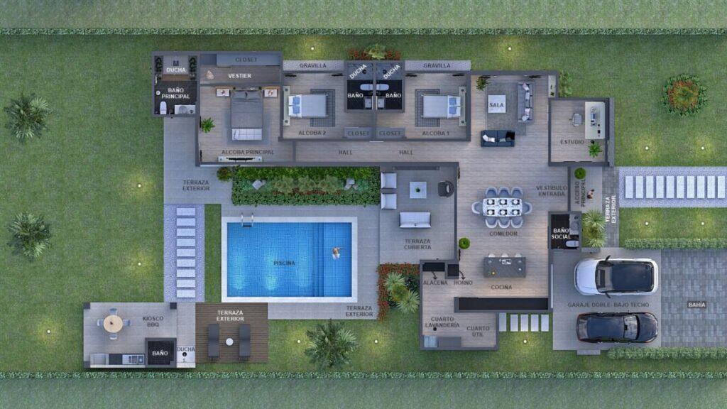 Render planta arquitectónica, Diseño casa campestre Pasieli